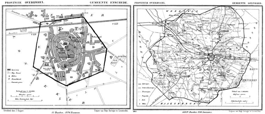 Gemeentekaarten van Enschede (links) en Lonneker laten de situatie van 1867 zien (getekend door J.Kuijper, uitgave Suringar)
