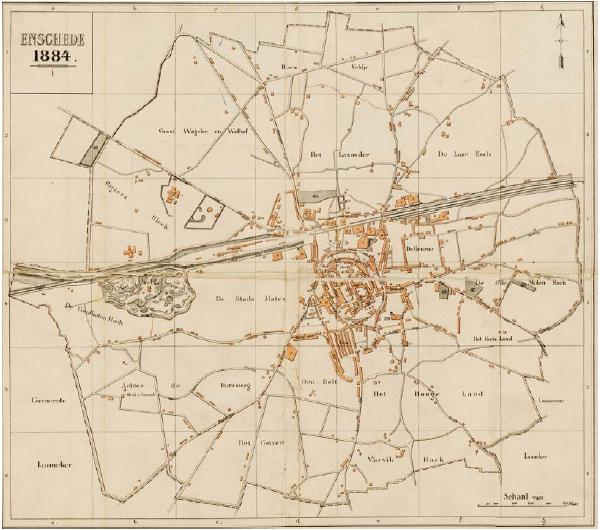 Gemeentekaart van Enschede 1884